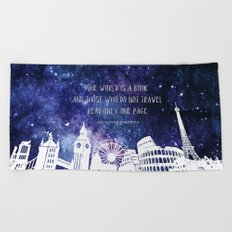 The world is a book Beach Towel