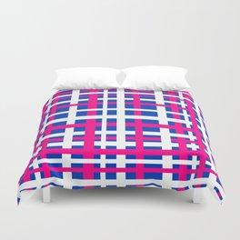 Blue & Pink Interlocking Stripes Duvet Cover