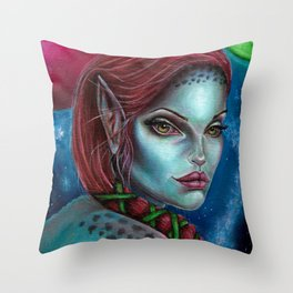 Apocolpyse Alien Girl Fantasy Art by Laurie Leigh Throw Pillow