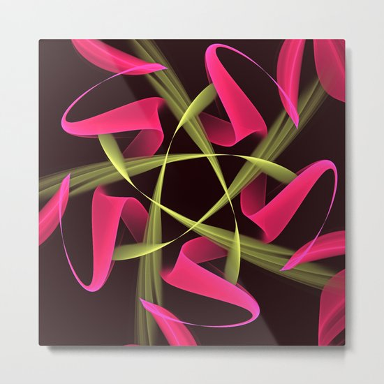 Pink ribbons in a breeze, fractal abstract pattern design Metal Print