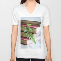study V-neck T-shirts featuring Botany Study by Colleen Farrell