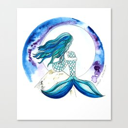 Sirena y la luna Canvas Print