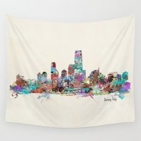 new jersey Wall Tapestries featuring jersey city new jersey skyline by bri.buckley