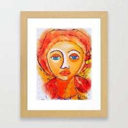 Big Eyed Woman Portrait Framed Art Print