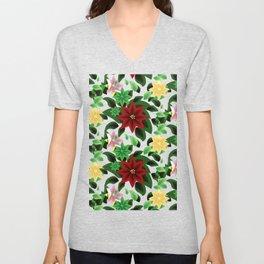 Poinsettia v2 pattern Unisex V-Neck