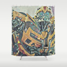 Bumblebee Surprised Artistic Illustration Colored Pencils Lines Style Shower Curtain