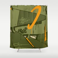 attack on titan Shower Curtains featuring ATTACK by clogtwo