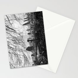 Rural church and graveyard in early morning fog. Hilborough, Norfolk, UK. Stationery Cards