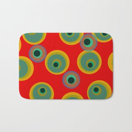 Bright Red and Gold Dot Design with Turquoise Bath Mat
