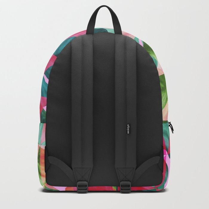 Abstract Hot Pink Banana Leaves Design Backpack