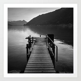 Brienz Lake. Alps. Switzerland. Bw Art Print