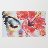 hibiscus Area & Throw Rugs featuring Hibiscus by Maria Lozano - Art
