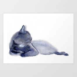 """The queen has arrived"" Expressive Cat Watercolor Painting Art Print"