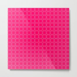 Hot Pink Neon Background with White Square Pattern Print Metal Print