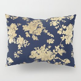 Elegant vintage navy blue faux gold flowers Pillow Sham