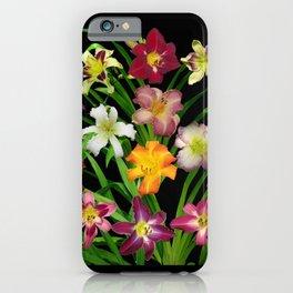 Display of daylilies II on blck iPhone Case