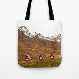 3 Red Cabins Tote Bag