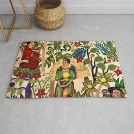 Frida's Garden, Casa Azul Lush Greenery Frida Kahlo Landscape Painting Rug