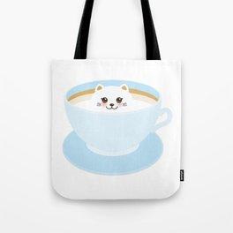 Cute Kawai cat in blue cup Tote Bag