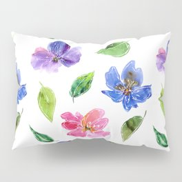 Blue, pink flowers. Watercolor florals. Botany. Pillow Sham