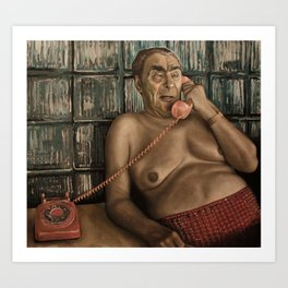 Brezhnev Talking on a Pink Phone Art Print