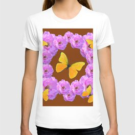 Pink Wild Roses & yellow butterflies on Chocolate Brown Color T-shirt