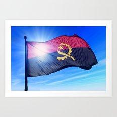 Angola flag waving on the wind Art Print