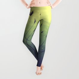 Purple Algae Plants In Green Water Leggings