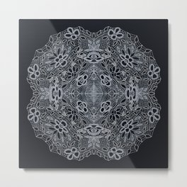 Crocheted Lace Mandala Metal Print