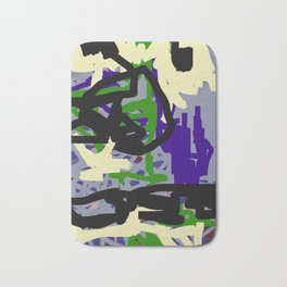 Purple, Green & Gray Abstract Bath Mat