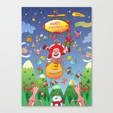 Santa has a Zeppelin to Deliver Christmas Gifts Canvas Print