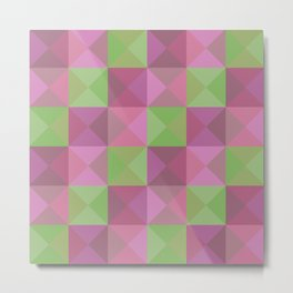 Obake - Colorful Pink Green Decorative Art Pattern Metal Print