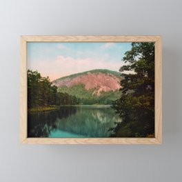 BaldFace Mountain from Lake Fairfield - Sapphire NC - Circa 1902 Photochrom Framed Mini Art Print