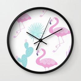 Flamingos and cactus Wall Clock