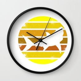 Retro Style T Shirt Silhouette Vintage Shark (2) Wall Clock