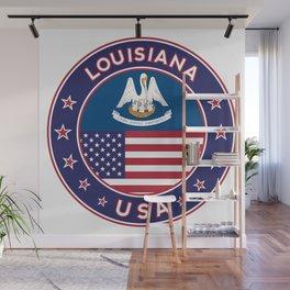 Louisiana, Louisiana t-shirt, Louisiana sticker, circle, Louisiana flag, white bg Wall Mural