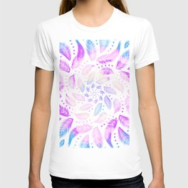 Feathery Boho Mandala - Iridescent Rainbow - Dreamcatcher  T-shirt