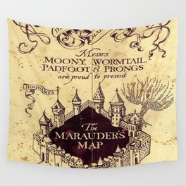 DARK BROWN MAP Wall Tapestry