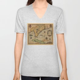 Map of Florida and part of Cuba (1591) Unisex V-Neck