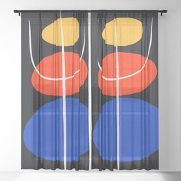Abstract black minimal art with red yellow and blue Sheer Curtain