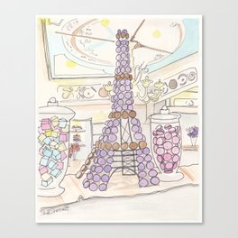 Eiffel Tower of French Macarons and Sweets in Paris  Canvas Print
