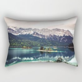 Green Blue Lake and Mountains - Eibsee, Germany Rectangular Pillow