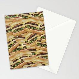 Vintage Cheeseburger Pile Print Stationery Cards