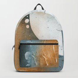 Abstract - Golden Depths 1 - Aqua and Gold Textured Design Backpack