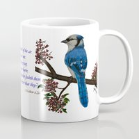 jay fleck Mugs featuring Blue Jay by Syella