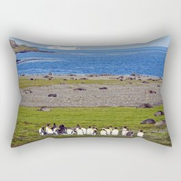 King Penguins on the beach with an Iceberg behind Rectangular Pillow