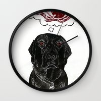 marley Wall Clocks featuring Marley Dreams of Meat by minouette