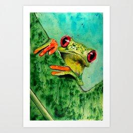Watercolor Tree Frog Art Print