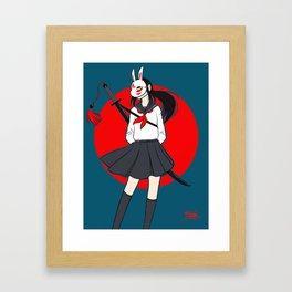 Kitsune Bunny Warrior Framed Art Print