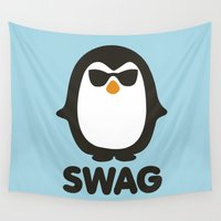 swag Wall Tapestries featuring SWAG Pinguin by Laundry Factory